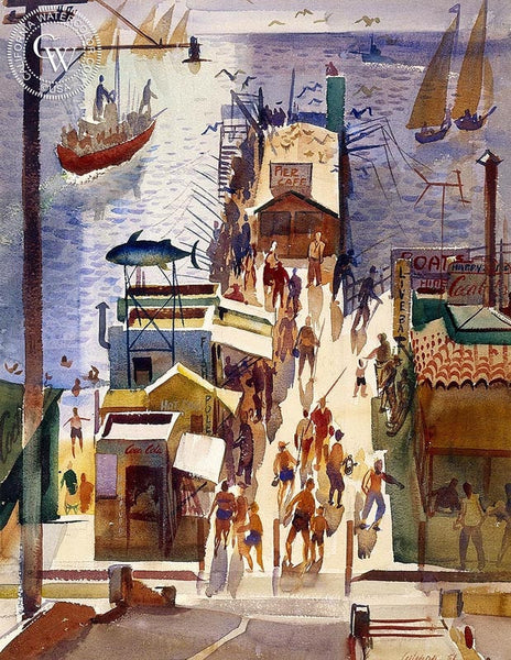 George Gibson - The Pier, 1951 - California art - fine art print for sale, giclee watercolor print - Californiawatercolor.com