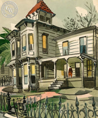 1006 6th Ave. (Grandfather's House in Oakland), California art by George Post. HD giclee art prints for sale at CaliforniaWatercolor.com - original California paintings, & premium giclee prints for sale