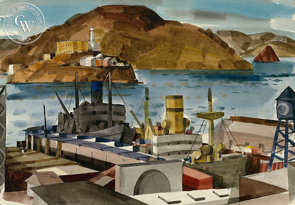 Bay and Funnels, 1946, California art by George Post. HD giclee art prints for sale at CaliforniaWatercolor.com - original California paintings, & premium giclee prints for sale