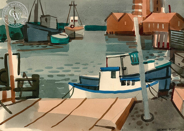 Boat Landing, Alviso, 1951, California art by George Post. HD giclee art prints for sale at CaliforniaWatercolor.com - original California paintings, & premium giclee prints for sale