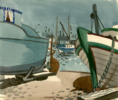 Boats in Dry Dock, California art by George Post. HD giclee art prints for sale at CaliforniaWatercolor.com - original California paintings, & premium giclee prints for sale