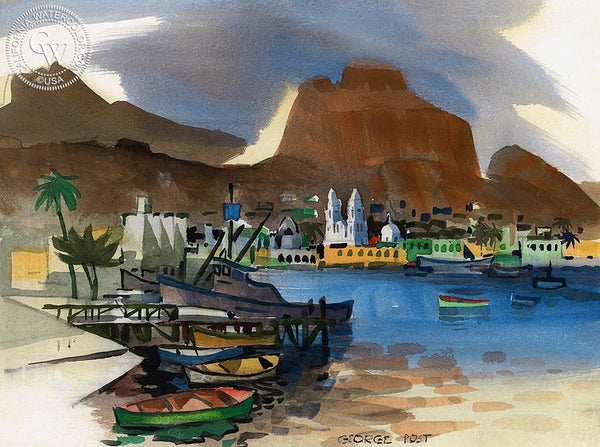 Guaymas Harbor, California art by George Post. HD giclee art prints for sale at CaliforniaWatercolor.com - original California paintings, & premium giclee prints for sale