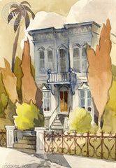 House on Potrero Hill, S.F., California art by George Post. HD giclee art prints for sale at CaliforniaWatercolor.com - original California paintings, & premium giclee prints for sale
