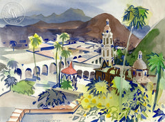 Los Alamos, Mexico, 1970, California art by George Post. HD giclee art prints for sale at CaliforniaWatercolor.com - original California paintings, & premium giclee prints for sale