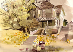 Old Queen Anne House, California art by George Post. HD giclee art prints for sale at CaliforniaWatercolor.com - original California paintings, & premium giclee prints for sale