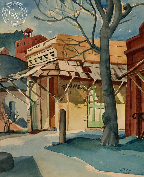 Pioneer Saloon, Columbia, CA, 1934, California art by George Post. HD giclee art prints for sale at CaliforniaWatercolor.com - original California paintings, & premium giclee prints for sale