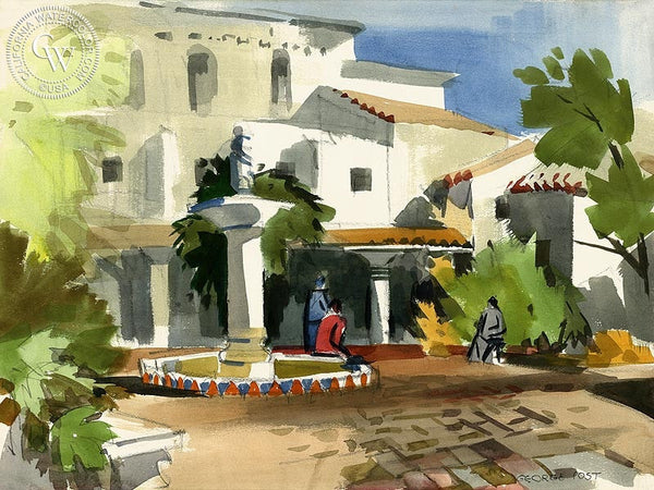 Patio, Carmel Mission, California art by George Post. HD giclee art prints for sale at CaliforniaWatercolor.com - original California paintings, & premium giclee prints for sale