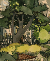 Picket Fence, California art by George Post. HD giclee art prints for sale at CaliforniaWatercolor.com - original California paintings, & premium giclee prints for sale