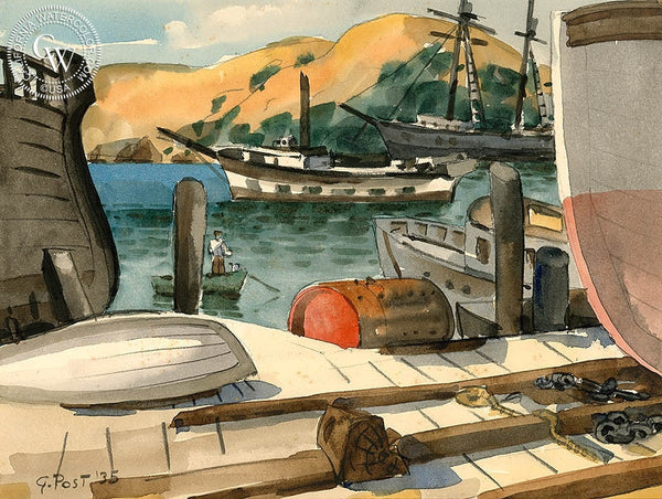 Richards Bay, 1935, California art by George Post. HD giclee art prints for sale at CaliforniaWatercolor.com - original California paintings, & premium giclee prints for sale