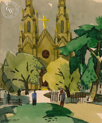 Saints Peter and Paul Church, California art by George Post. HD giclee art prints for sale at CaliforniaWatercolor.com - original California paintings, & premium giclee prints for sale