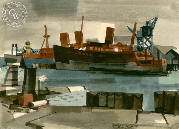 Ships Under Repair, California art by George Post. HD giclee art prints for sale at CaliforniaWatercolor.com - original California paintings, & premium giclee prints for sale