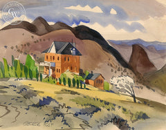 St. Mary's Art Center, Virginia City, California art by George Post. HD giclee art prints for sale at CaliforniaWatercolor.com - original California paintings, & premium giclee prints for sale
