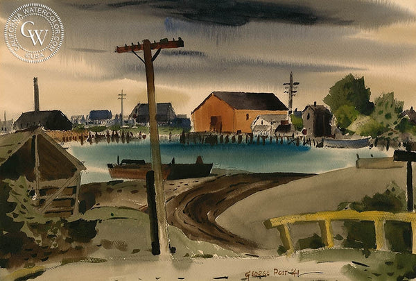 Swinomish Slough, LaConner, WA, 1941, California art by George Post. HD giclee art prints for sale at CaliforniaWatercolor.com - original California paintings, & premium giclee prints for sale