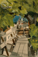 Greenwich St. Steps, Telegraph Hill, 1949, California watercolor art by George Post. HD giclee art prints for sale at CaliforniaWatercolor.com - original California paintings, & premium giclee prints for sale