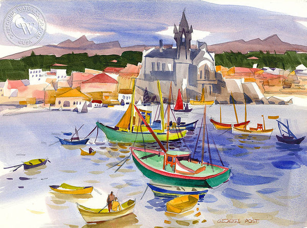 Cascais, Portugal, 1974, California art by George Post. HD giclee art prints for sale at CaliforniaWatercolor.com - original California paintings, & premium giclee prints for sale