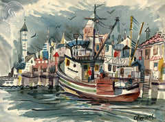 Fishing Boat, c. 1950, California art by Gerald Collins Gleeson. HD giclee art prints for sale at CaliforniaWatercolor.com - original California paintings, & premium giclee prints for sale