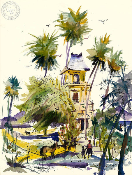 Old Railroad Station, Lake Chapala, 1981, California art by Gerald Collins Gleeson. HD giclee art prints for sale at CaliforniaWatercolor.com - original California paintings, & premium giclee prints for sale