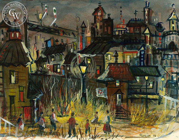 Playing Under the Lights, 1958, California art by Gerald Collins Gleeson. HD giclee art prints for sale at CaliforniaWatercolor.com - original California paintings, & premium giclee prints for sale