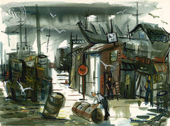 The Wharf, 1952, California art by Gerald Collins Gleeson. HD giclee art prints for sale at CaliforniaWatercolor.com - original California paintings, & premium giclee prints for sale