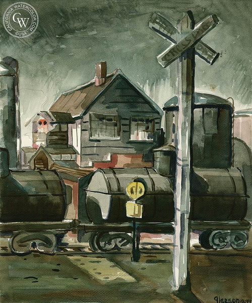 Train Depot, 1949, California art by Gerald Collins Gleeson. HD giclee art prints for sale at CaliforniaWatercolor.com - original California paintings, & premium giclee prints for sale