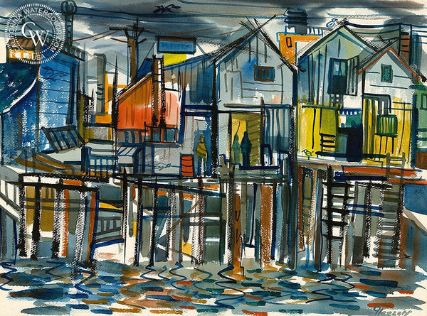 Wharf Scene, California art by Gerald Collins Gleeson. HD giclee art prints for sale at CaliforniaWatercolor.com - original California paintings, & premium giclee prints for sale
