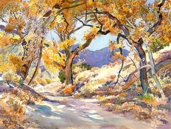A Road Through the Trees, California art by Glen Knowles. HD giclee art prints for sale at CaliforniaWatercolor.com - original California paintings, & premium giclee prints for sale