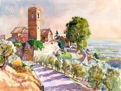 A View of Tuscany, California art by Glen Knowles. HD giclee art prints for sale at CaliforniaWatercolor.com - original California paintings, & premium giclee prints for sale
