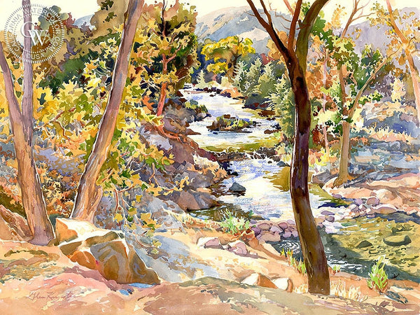 Big Rock Creek, California art by Glen Knowles. HD giclee art prints for sale at CaliforniaWatercolor.com - original California paintings, & premium giclee prints for sale