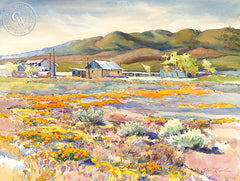 California Poppies and Adobe Ranch, California art by Glen Knowles. HD giclee art prints for sale at CaliforniaWatercolor.com - original California paintings, & premium giclee prints for sale