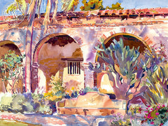 Evening Light, San Juan Capistrano, California art by Glen Knowles. HD giclee art prints for sale at CaliforniaWatercolor.com - original California paintings, & premium giclee prints for sale
