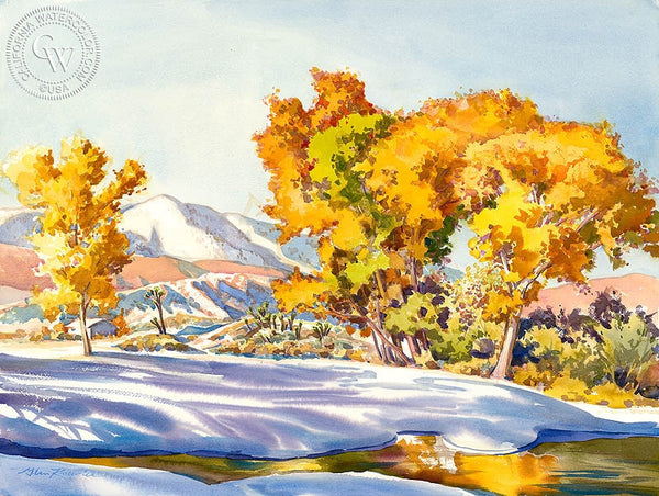 First Snow of Autumn, California art by Glen Knowles. HD giclee art prints for sale at CaliforniaWatercolor.com - original California paintings, & premium giclee prints for sale