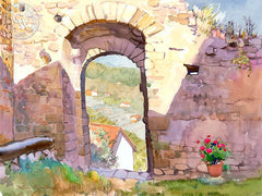Gateway to Tuscany, California art by Glen Knowles. HD giclee art prints for sale at CaliforniaWatercolor.com - original California paintings, & premium giclee prints for sale