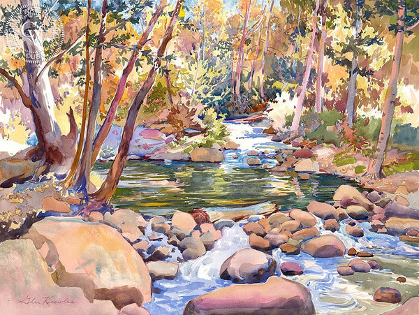Hidden Pool, Big Rock Creek, California art by Glen Knowles. HD giclee art prints for sale at CaliforniaWatercolor.com - original California paintings, & premium giclee prints for sale
