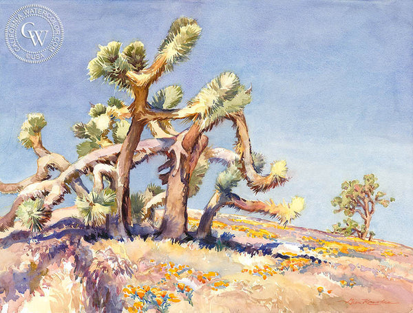 Joshua Trees Playing Twister, a California watercolor painting by Glen Knowles. HD giclee art prints for sale at CaliforniaWatercolor.com - original California paintings, & premium giclee prints for sale