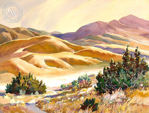 Kosa's Golden Hills, a California watercolor painting by Glen Knowles. HD giclee art prints for sale at CaliforniaWatercolor.com - original California paintings, & premium giclee prints for sale