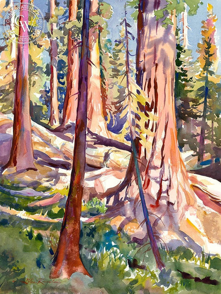 Late Afternoon in the Sequoias, California art by Glen Knowles. HD giclee art prints for sale at CaliforniaWatercolor.com - original California paintings, & premium giclee prints for sale