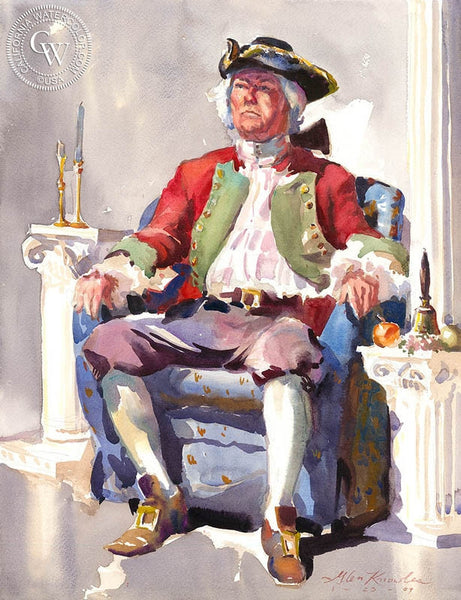 Member of the First Tea Party, California art by Glen Knowles. HD giclee art prints for sale at CaliforniaWatercolor.com - original California paintings, & premium giclee prints for sale