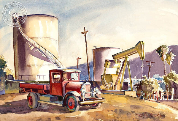 Oil Derrick, California art by Glen Knowles. HD giclee art prints for sale at CaliforniaWatercolor.com - original California paintings, & premium giclee prints for sale