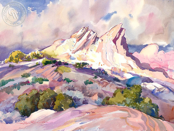 Passing Rain, Vasquez Rocks, California art by Glen Knowles. HD giclee art prints for sale at CaliforniaWatercolor.com - original California paintings, & premium giclee prints for sale