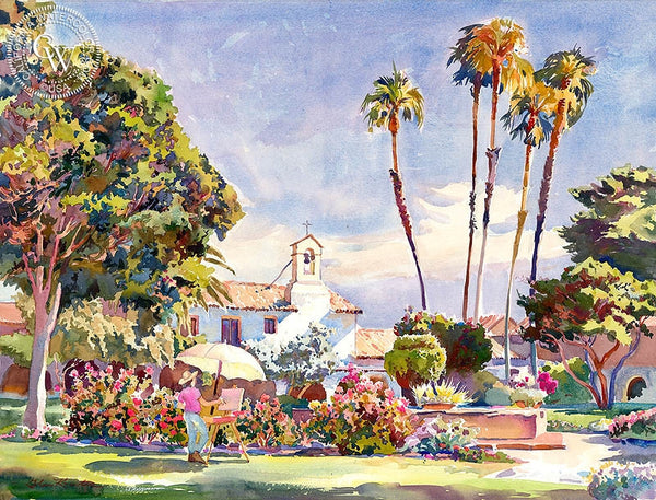 Plein Air at San Juan Capistrano, California art by Glen Knowles. HD giclee art prints for sale at CaliforniaWatercolor.com - original California paintings, & premium giclee prints for sale