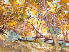 Pools Hidden Under Fall Trees, a California watercolor painting by Glen Knowles. HD giclee art prints for sale at CaliforniaWatercolor.com - original California paintings, & premium giclee prints for sale