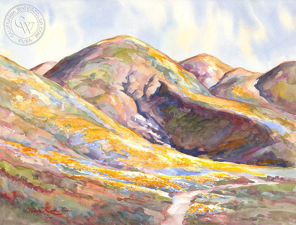 Poppy Covered Hills, a California watercolor painting by Glen Knowles. HD giclee art prints for sale at CaliforniaWatercolor.com - original California paintings, & premium giclee prints for sale