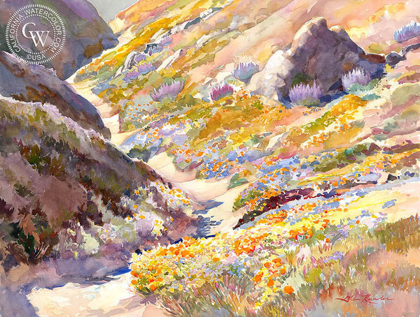 Sheltered Poppies, a California watercolor painting by Glen Knowles. HD giclee art prints for sale at CaliforniaWatercolor.com - original California paintings, & premium giclee prints for sale