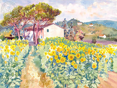 Sunflowers in Tuscany, California art by Glen Knowles. HD giclee art prints for sale at CaliforniaWatercolor.com - original California paintings, & premium giclee prints for sale