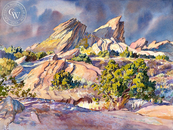 Sunset at Vasquez Rocks Park, California art by Glen Knowles. HD giclee art prints for sale at CaliforniaWatercolor.com - original California paintings, & premium giclee prints for sale