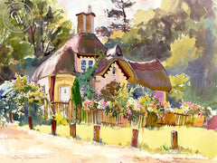 The Gatekeeper's House, California art by Glen Knowles. HD giclee art prints for sale at CaliforniaWatercolor.com - original California paintings, & premium giclee prints for sale