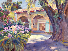 The Old Pepper Tree, San Juan Capistrano, California art by Glen Knowles. HD giclee art prints for sale at CaliforniaWatercolor.com - original California paintings, & premium giclee prints for sale