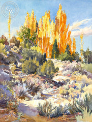 There's Gold in the Wash, California art by Glen Knowles. HD giclee art prints for sale at CaliforniaWatercolor.com - original California paintings, & premium giclee prints for sale