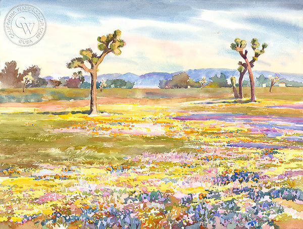Vibrant Desert Bloom, a California watercolor painting by Glen Knowles. HD giclee art prints for sale at CaliforniaWatercolor.com - original California paintings, & premium giclee prints for sale