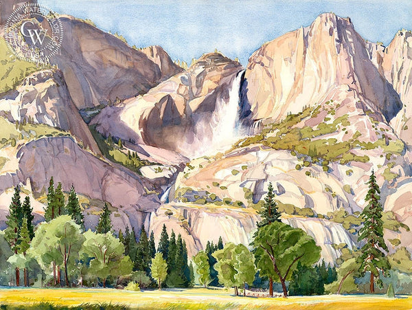 Yosemite Falls, California art by Glen Knowles. HD giclee art prints for sale at CaliforniaWatercolor.com - original California paintings, & premium giclee prints for sale
